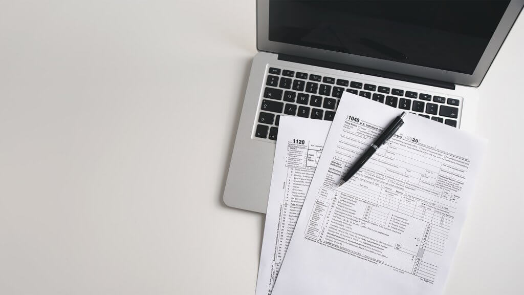 US tax return and a laptop